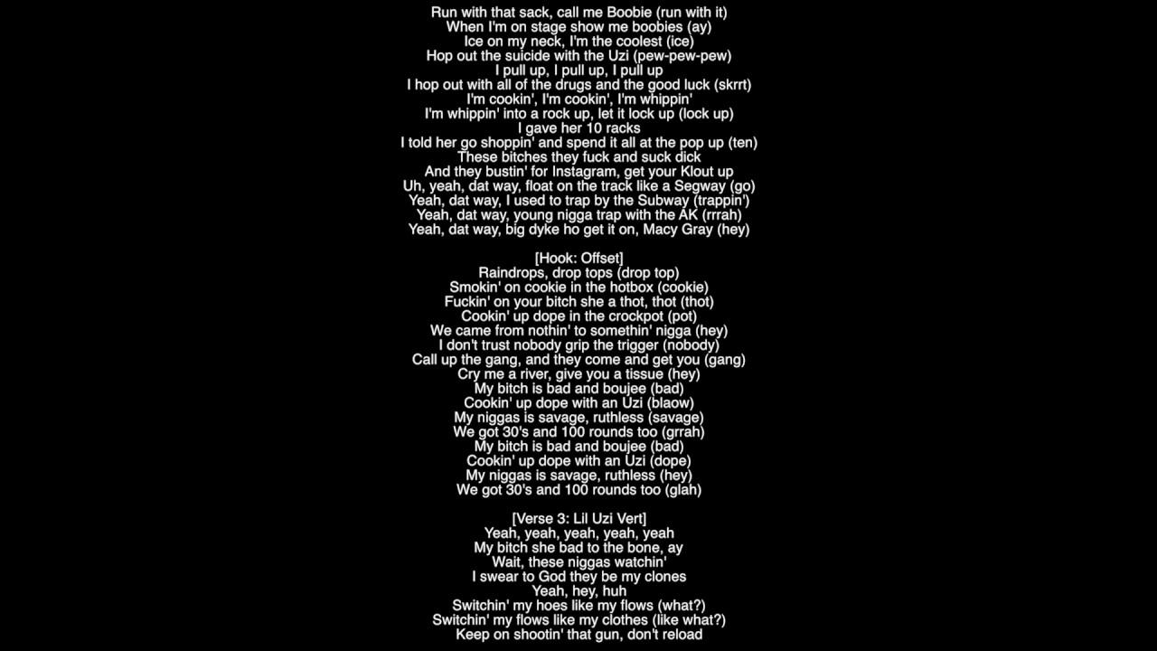 Full Lyrics) Bad and Boujee Migos Featuring Lil Uzi Vert Produced ...
