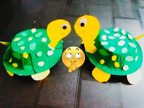 ART AND CRAFT FOR KIDS: HOW TO MAKE TOY TORTOISE OUT OF DISPOSABLE PAPER DONA/ PAPER BOWL