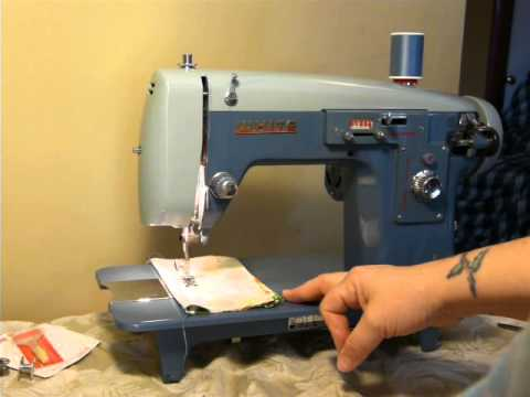 NIFTYTHRIFTYGIRL: BEAUTIFUL Blue White/Domestic model 5135 vintage sewing machine