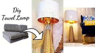 HOW TO MAKE TOWEL LAMPS! EASY AND INEXPENSIVE ROOM DECOR IDEAS!