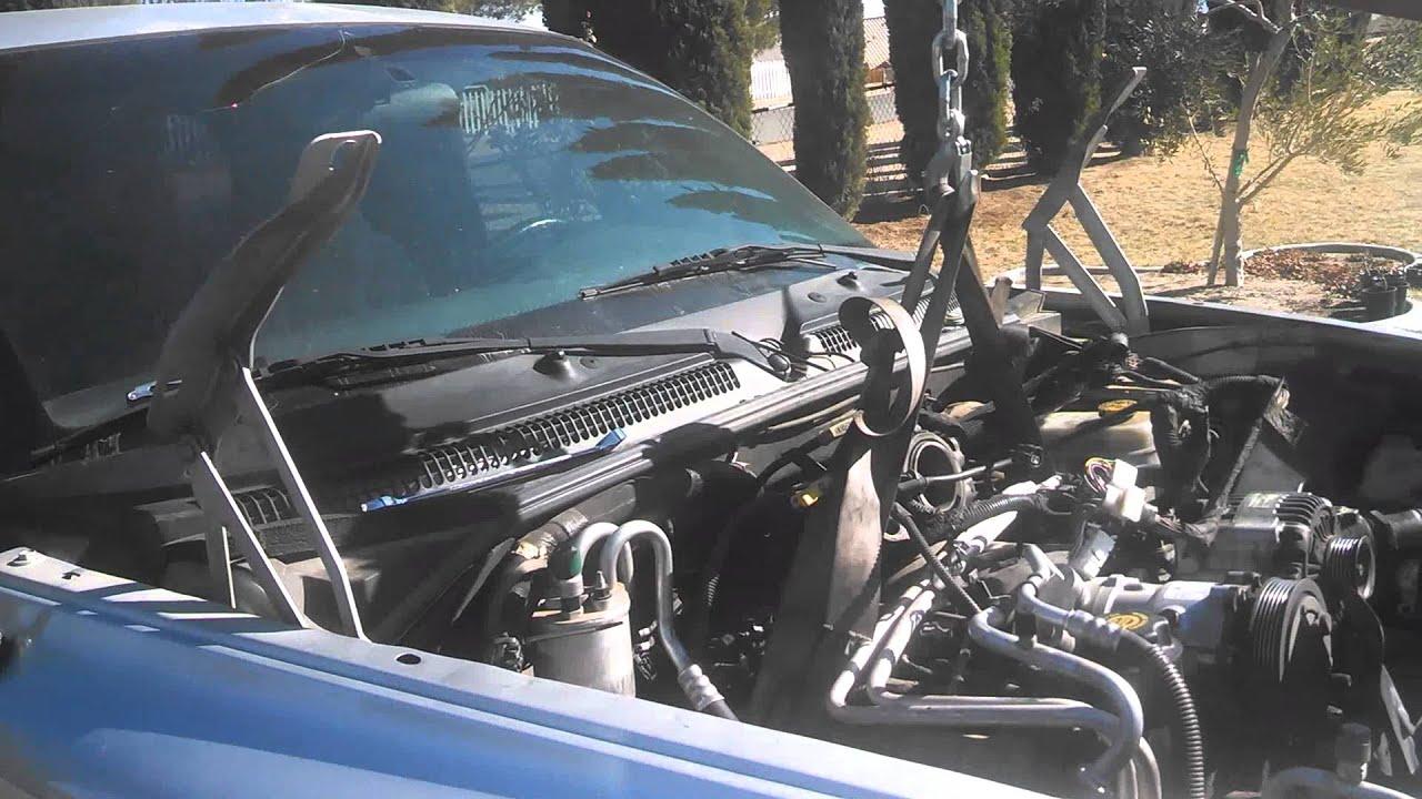 dodge dakota blown 16tooth tone wheel jtec 4 7 engine removal part 2 rh youtube com dodge avenger engine removal dodge cummins engine removal
