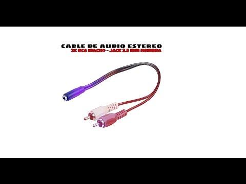 Video de Cable de audio estereo 2xRCA/M-JACK 3.5mm/H 0.25 M Negro