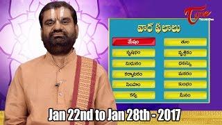 Vaara Phalalu || Jan 22nd to Jan 28th 2017 || Weekly Predictions 2017 || #Horoscope