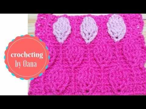 Crochet textured leaf stitch by Oana