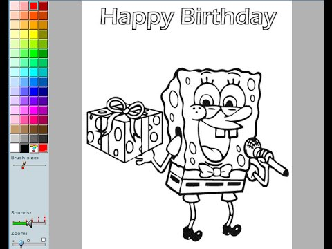 Spongebob Birthday Coloring Pages For Kids