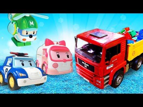 Видео про машинки: Робокар Поли и команда спасают ГРУЗОВИК! Тайная жизнь игрушек