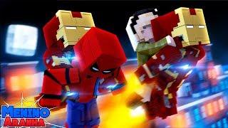 Minecraft: MENINO ARANHA - HOMEM DE FERRO SALVOU MINHA VIDA!!! #195