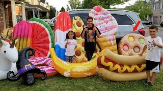 Kids Pretend Play Garage Sale with Giant Inflatable Toys
