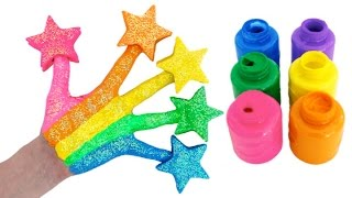 Learn Colors for Children Body Paint with Play Doh Stars & Finger Family Nursery Rhymes