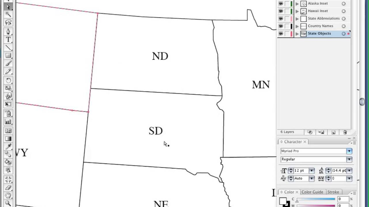 Map Resources - USA Map in Adobe Illustrator with All 50 States