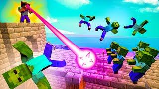 Insane SUPER LASER Defeats A Huge Zombie Horde In Minecraft Dungeons!