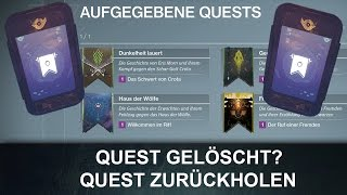 Destiny: Quest gelöscht / Quest zurückholen / Quest Blueprint (Deutsch/German)