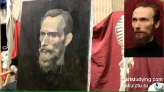 Портрет бородатого мужчины - Обучение живописи. Портрет, 38 серия