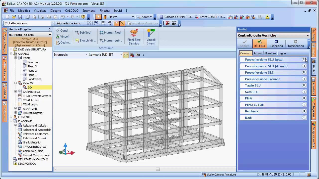 Software verifiche degli edifici esistenti in c a for Software di progettazione di edifici domestici