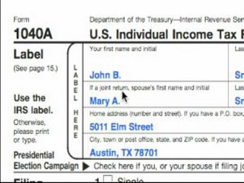 How to Complete a 1040A Tax Form : 1040A Label and Exemption Tips ...