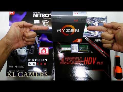 AMD Ryzen 3 2200G ASRock A320M-HDV R4 0 SAPPHIRE NITRO + RADEON RX 580  8GDDR5 GAMING RIG 2019