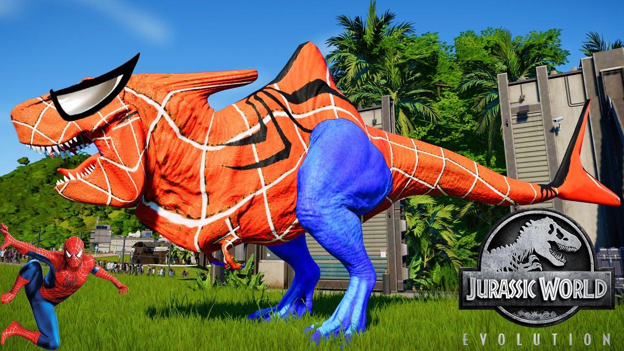 Jurassic World Evolution🌍 Spiderman Megalodon Rex Vs ...