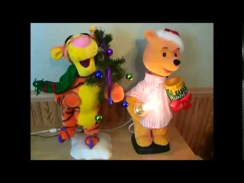 Disney Winnie the Pooh and Tigger Animated Christmas Figures - YouTube