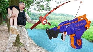 Sky Nerf War: Beautiful Girl Go Fishing  Nerf Guns Fight Criminal Robber Battle