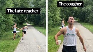 How different people grab water during a race.