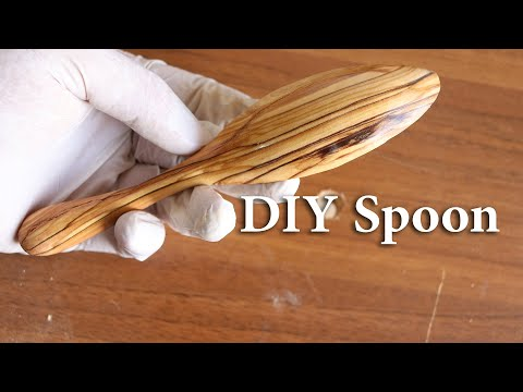 DIY olive wood carving simple spoon using rotary tool - power carving