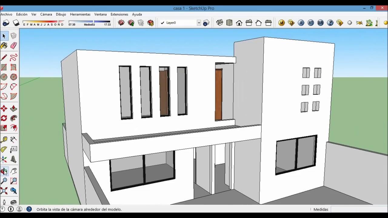 Casa moderna en sketchup parte 2 youtube for Casa moderna sketchup download