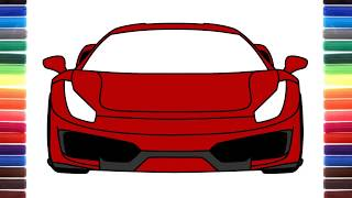 How to draw a car Ferrari 488 Pista Front view