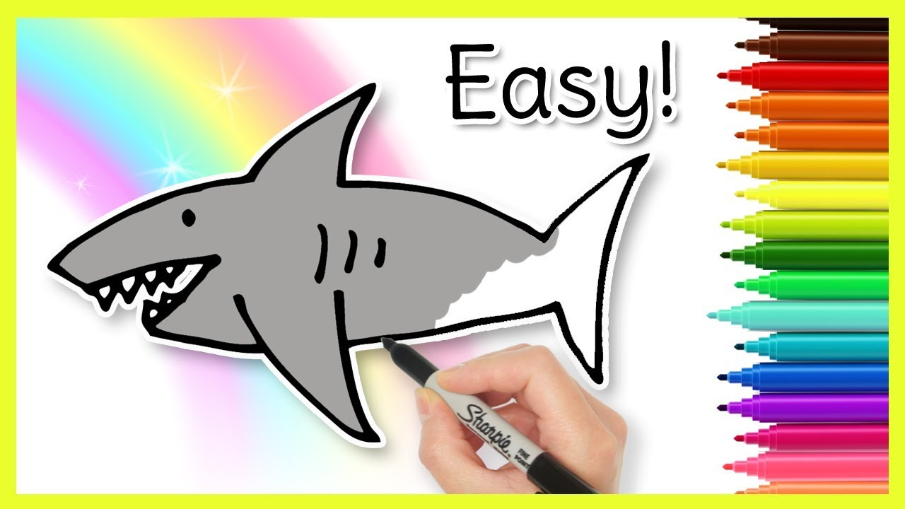 How To Draw A Shark Easy Kids Drawing Tutorial Youtube