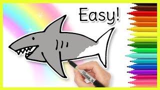 easy drawings shark draw drawing preschoolers tutorial paintingvalley