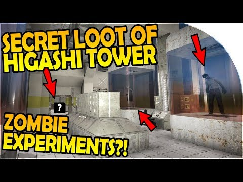 The SECRET LOOT of HIGASHI TOWER - ZOMBIE EXPERIMENTS?! - 7 Days to Die Alpha 16 Gameplay Part 37