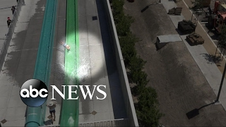 10-year-old boy tumbles off water slide onto concrete