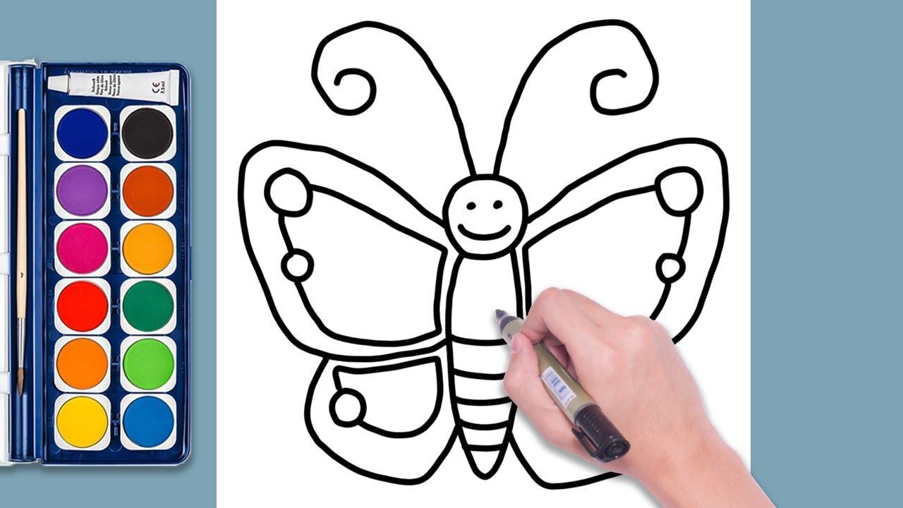 Kelebek Nasıl çizilir Kelebek Boyama Eğitici Video Okul öncesi