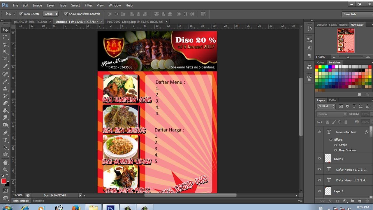 Cara Membuat Brosur Promosi Kuliner Dengan Photoshop Youtube