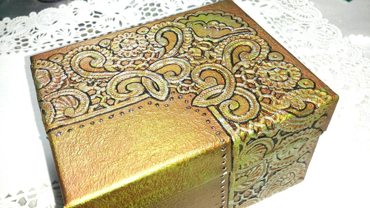 Diy caja repujada con obleas box embossed with wafers - Manualidades pintar caja metal ...