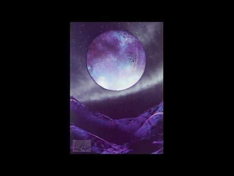Spray paint art - Beautiful purple moon - made by Lise