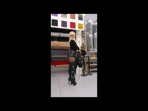 DANA LABO boots my passion - leather, vinyl, pvc outfit and laced up high heels