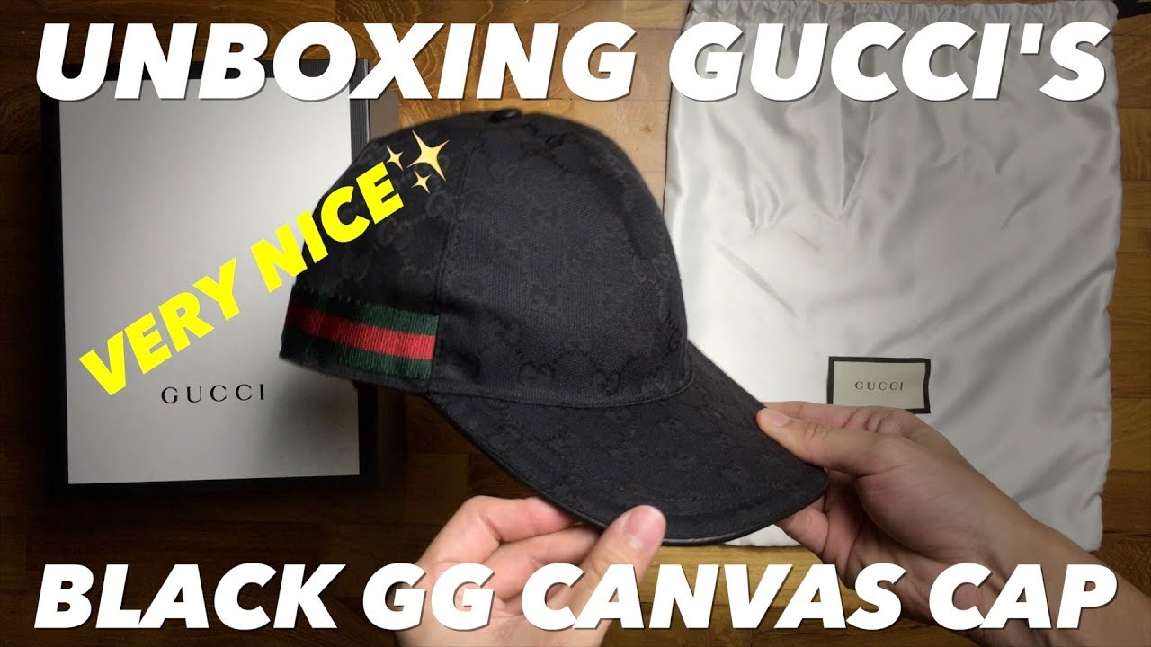 f9b142e09a4 Unboxing Things: Gucci's Black Original GG Canvas Baseball Hat with Web