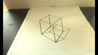 How To Draw 3D Simple Cube - 3D Drawing a Simple Cube on Paper