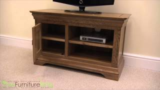 French Chateau Solid Oak Small Tv Cabinet