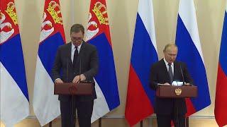По итогам переговоров Владимир Путин и Александр Вучич ответили на вопросы журналистов.