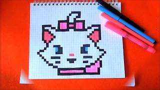 Кошечка Мари - Marie Cat - Как нарисовать по клеточкам Пиксель Арт Pixel Art