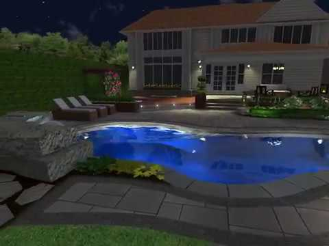 Elite stone garden backyard oasis 3d landscape pool for Garden oases pool entrance