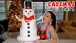 I MADE A HUGE SNOWMAN CAKE! || CAKEMAS
