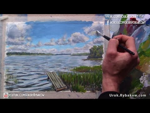 How to paint RIVER LANDSCAPE using only 4 colors by Valery Rybakow