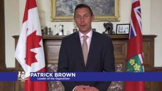 Wishes from Patrick Brown, Leader of the Progressive Conservative Party of Ontario