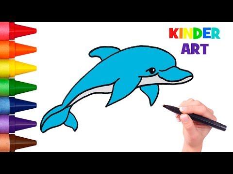 Как нарисовать дельфина поэтапно детям | How To Draw A Cartoon Dolphin