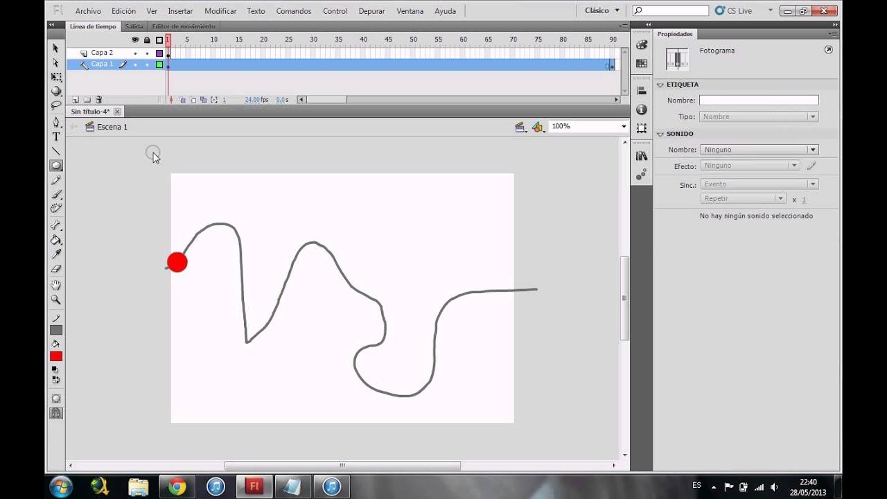 como hacer que un objeto siga una linea guia en flash 2