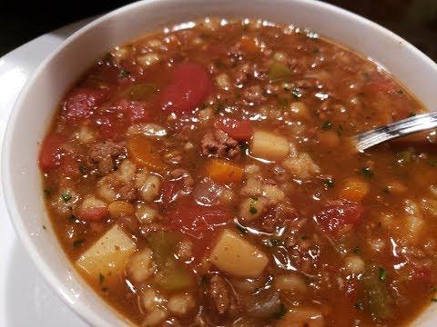 Beef Barley Lentil Soup  - SLow Cooker Recipe