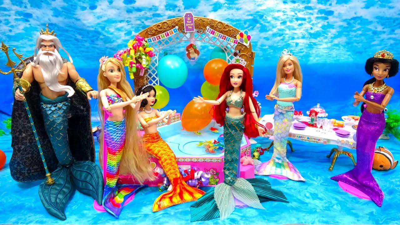 人魚の誕生日会 マーメイド アリエル ハッピーバースデー プレゼントとケーキで祝いましょう✨ Barbie Birthday Song Present Crafts